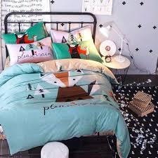 twin size duvet cover sets cartoon fox dog parrot bedding set queen cotton bed sheet or