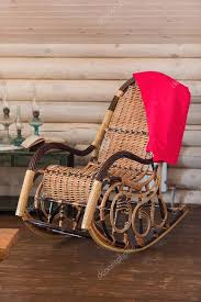 retro rocker wooden swing chair stock photo