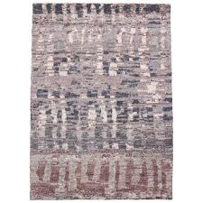 contemporary moroccan style rug with lavender abstract design for