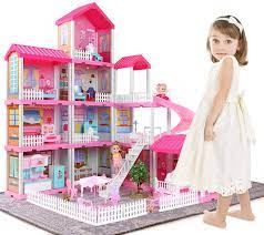 Temi Dollhouse Dreamhouse Building Toys Figure W Furniture Accessories Movable Slides Pets Dolls Diy Cottage Pretend Play Doll House Gift For Toddlers Boys Girls 11 Rooms Toys Games