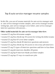 Top 8 auto service manager resume samples In this file, you can ref resume  materials ...