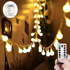 Columbus cafe outdoor lighting Toocle Co Wertioo 33ft 100 Leds Battery Operated String Lights Globe Fairy Lights With Remote Control For Outdoor Eater Sf Outdoor Waterproof Battery Operated Lights Amazoncom
