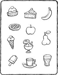 Maak Verzamelingen Met Eten Kleurplaat Kleurprent Tekening 01v