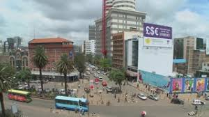 wide angle view busy design office. subscription library busy street scene in nairobi kenya wide angle view design office o