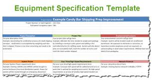 mechanical equipments list equipment specification template for automation projects
