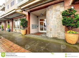 city apartment building entrance. apartment building city entrance c