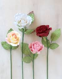 Paper Flower Stems Paper Rose Pink Yellow White Red Rose Paper Stems