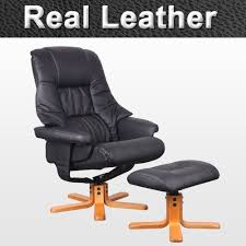 soo brown leather swivel recliner armchair with foot stool uk