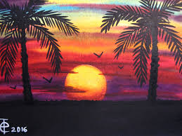 pk watercolor painting sunset with palm trees sd painting colorful sky seascape art