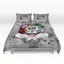 sugar skull comforter set or duvet cover till do us part day with queen plans 2