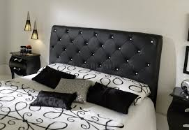black leather tufted headboard  cute interior and full image for