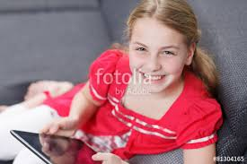 young with tablet