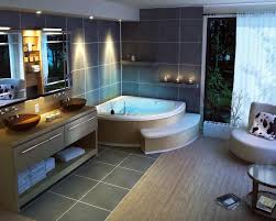 bathtub lighting. Contemporary Bathroom Interior Decorated With Concrete Tile Floor And Wall Design Completed Light Fixtures Bathtub Lighting