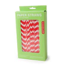 kikkerland piece fsc paper food safe ink stripe paper straw