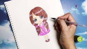 How to draw cute Chibi - Vẽ cô gái chibi dễ thương - An Pi TV Coloring -  YouTube