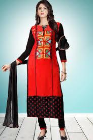 Cotton Churidar Dress Design Patterns Red Cambric Cotton Churidar Suit