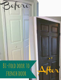 turn your bi folding closet doors into french doors with a couple of hinges