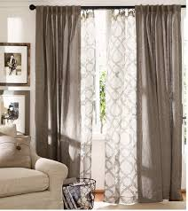 sliding glass door curtains pottery barn. Beautiful Barn Pottery Barn Kendra Trellis Sheer Drape With Emery Linen Layered  Curtains Double With Sliding Glass Door Curtains O