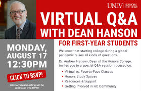 Virtual Q&A with Dean Hanson (First-Year Students)   Honors College    University of Nevada, Las Vegas