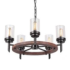 eumyviv 17803 5 lights annular metal wood pendant lamp with glass shade retro rustic chandelier edison vintage decorative ceiling light fixtures hanging