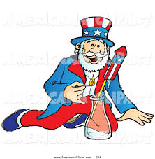 americana clip art of a patriotic uncle sam lighting and shooting off bottle rocket fireworks on