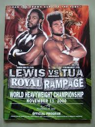 lennox lewis memorabilia. lennox lewis vs david tua wbc and ibf plus ibo heavyweight world title official onsite programme memorabilia o