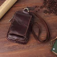 details about genuine leather lanyard wallet belt pocket bag waist pack phone pouch universal