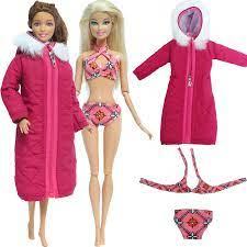 2 Bộ/lô = 1x Hoa Đồ Bơi Đi Biển Có + 1x Đỏ Dài Cotton Phối Mùa Đông Ấm Quần  Áo Cho Búp Bê Barbie búp Bê 1/6 Accessorie|dresses red
