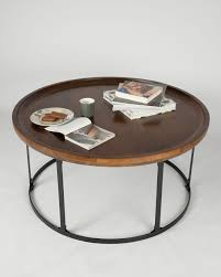 Industrial Round Coffee Table Industrial Round Coffee Table With Dark Wood Top And Steel Frame