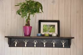 Decorations:DIY Twig Coat Rack Hanging Idea Fork Hook Coat Rack With Shelf  In Stained