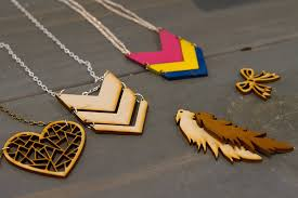 laser cut wooden painted necklaces