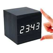 cube alarm clock sound control wood digital led desk gingko manual