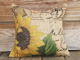 french burlap pillow of french sunflower measuring approx 16x16