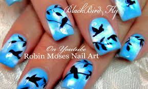 DIY Flying Black Bird Nails | Birds Nail Art Design Tutorial - YouTube