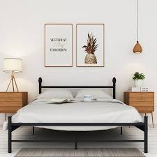 VECELO Full Size Metal/Platform Bed Frame , Box Spring Replacement w/ Headboard