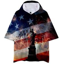 Us Tops Size Chart Amazon Com Fainosmny Summer Loose Tops Hooded Us Flag