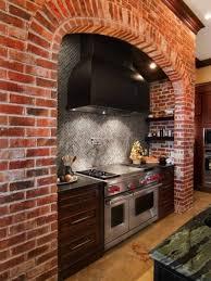 Red Brick Tiles Kitchen Red Brick Backsplash Kitchen Rustic With Apron Sink Brick Kitchen