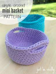 Free Crochet Basket Patterns Cool Simple Crochet Mini Basket Pattern Free Pattern By Just Be Crafty