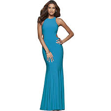 Faviana Ruffled Cut Out Full Length Trumpet Gown At Amazon