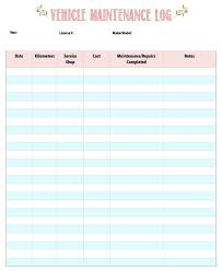 Vehicle Maintenance Log Template Equipment Record Download Service