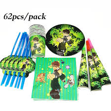 62pcs Ben 10 theme disposable paper plates cups straws Ben 10 ...