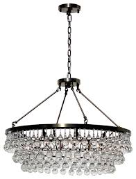 celeste 32 glass drop crystal chandelier antique brass