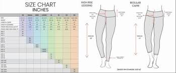 Yogalicious Size Chart Classic Power Flex Capri