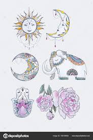 нарисованные пионы карандашом эскиз солнца луна слон хамса и пион
