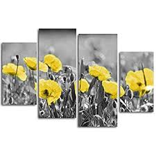 poppies field floral canvas wall art black white and yellow modern wall art decor on black and white tulip wall art with amazon poppies field floral canvas wall art black white and