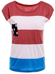 Stylish Round Neck American Flag Print Color Block Short Sleeve T Cheapest Place To Print In Color L