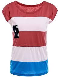 Stylish Round Neck American Flag Print Color Block Short Sleeve T