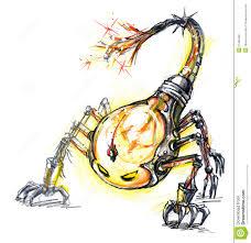 Monster Light Bulb Energy Consume Monster Scorpion Bulb Stock Illustration
