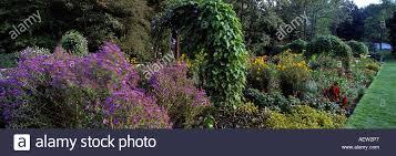 arches of climbers or vines in cut flower vegetable garden at chanticleer garden wayne pennsylvania usa