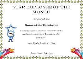 Employee Of The Month Template With Photo Certificate Template In Word Star Of The Month Format Performer